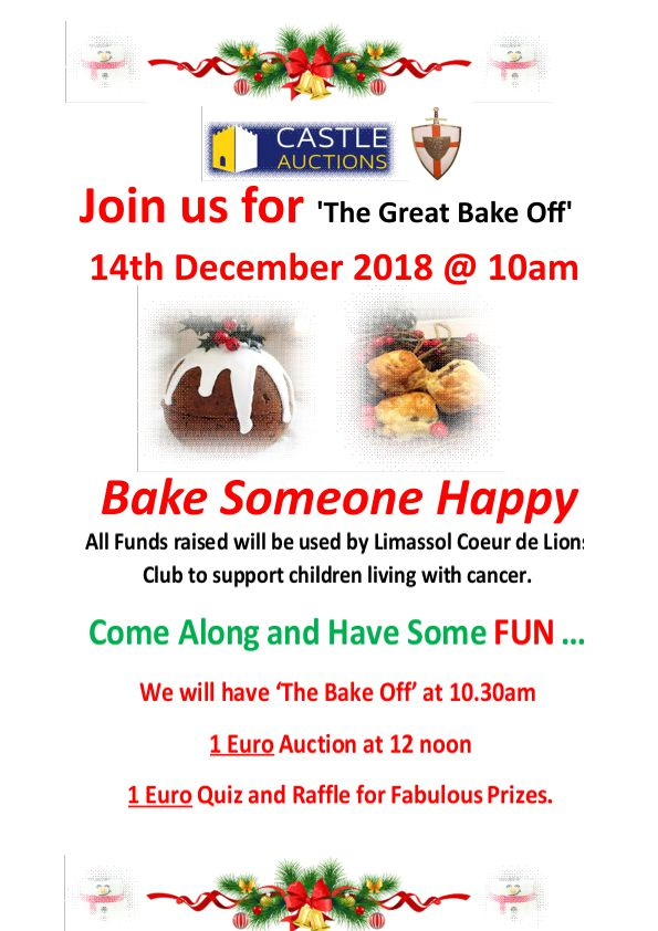December, 14th (Friday) ' The Great Bake Off at 10.30am and Charity Auction at 12 Noon – Limassol Saleroom